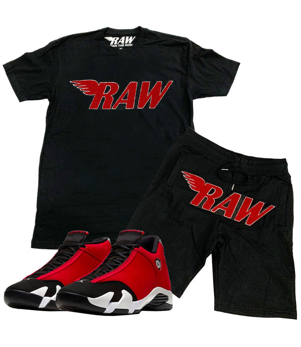 RAW Red Chenille Crew Neck and Cotton Shorts Set - Black Tees / Black Shorts