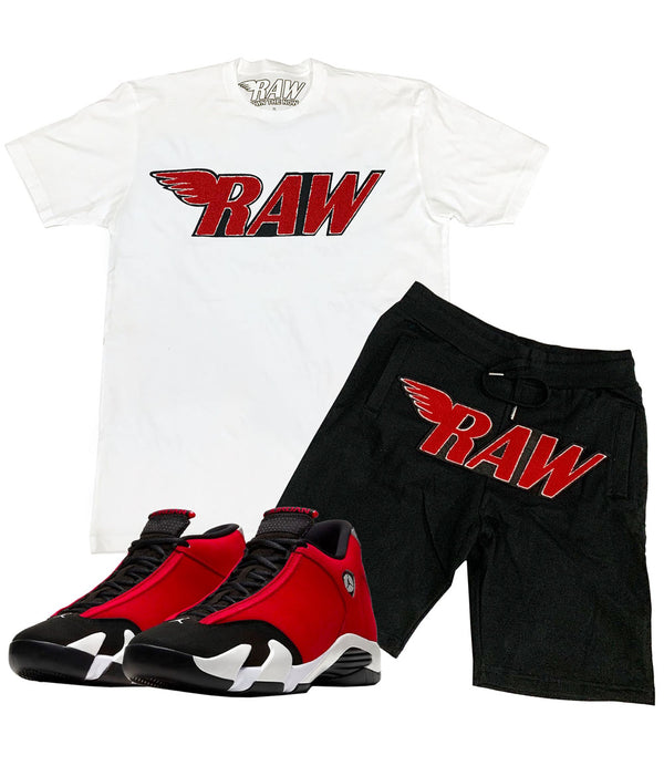 RAW Red Chenille Crew Neck and Cotton Shorts Set - White Tees / Black Shorts