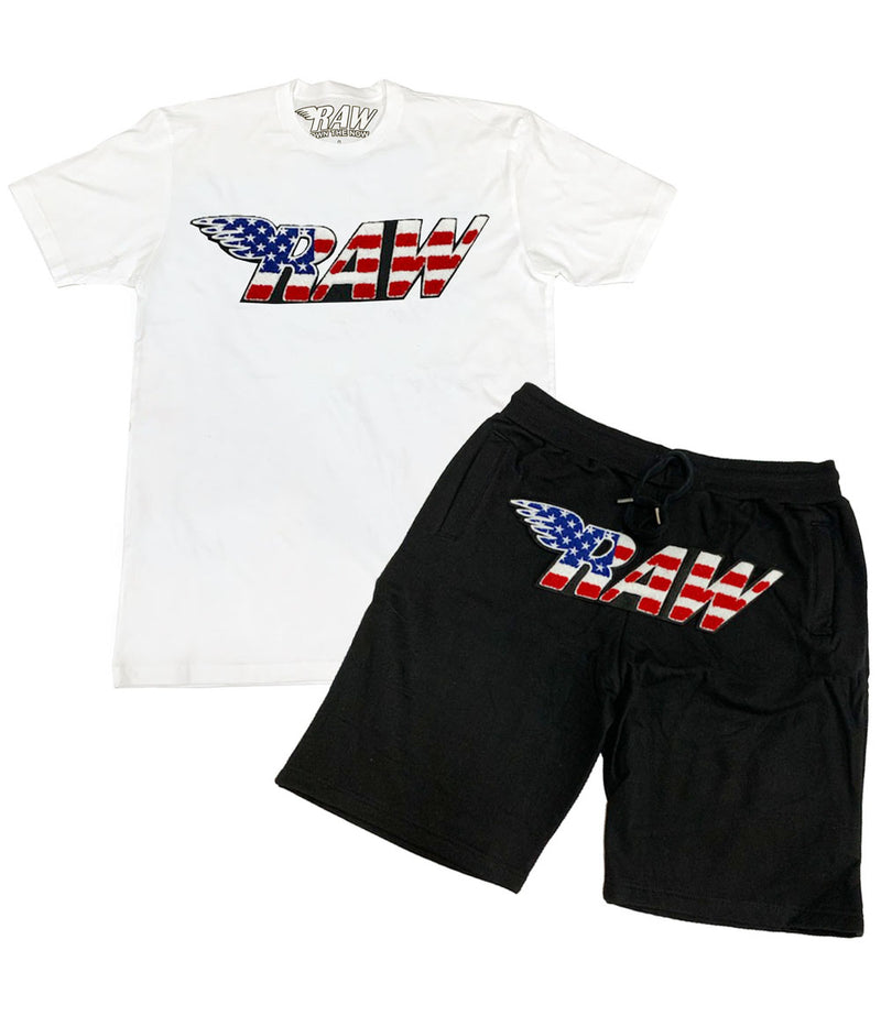 RAW USA Chenille Crew Neck and Cotton Shorts Set