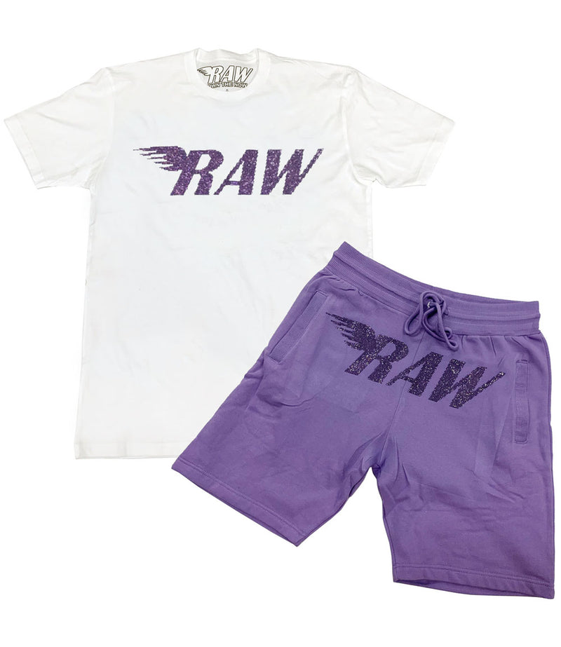 RAW Violet Bling Crew Neck and Cotton Shorts Set