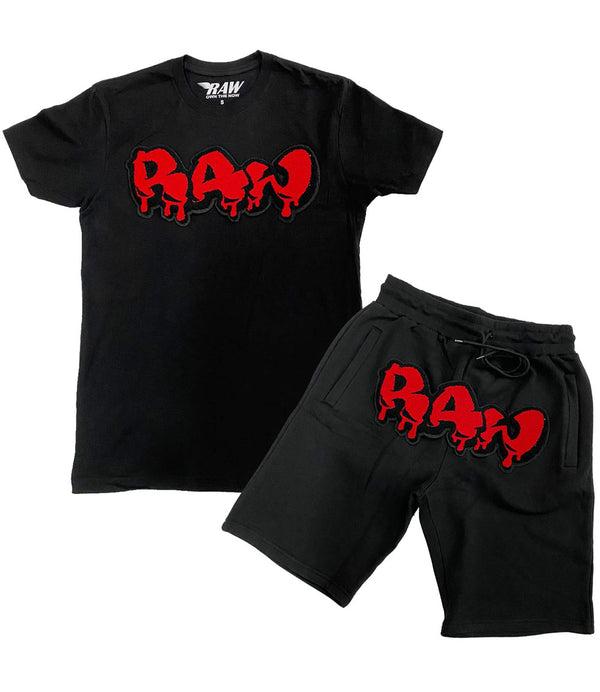 RAW Drip Red Chenille Crew Neck and Cotton Shorts Set - Black Tees / Black Shorts
