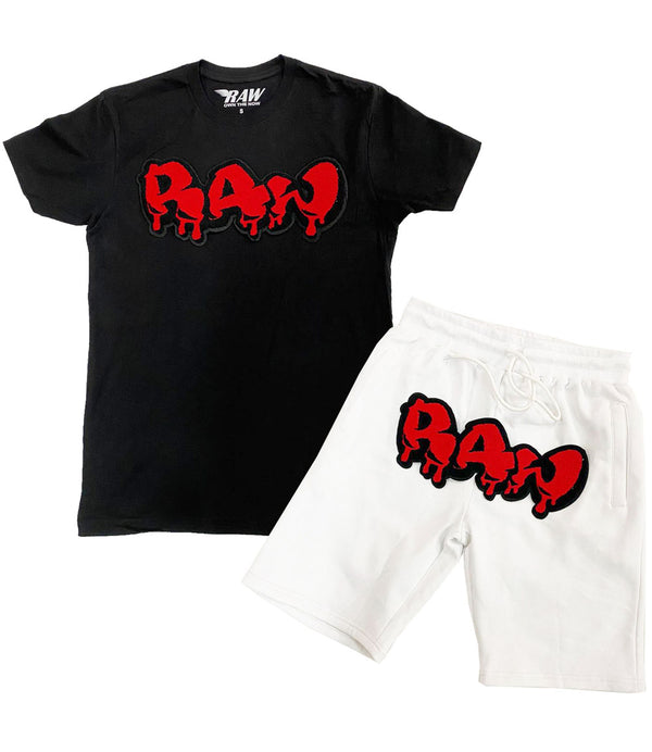 RAW Drip Red Chenille Crew Neck and Cotton Shorts Set - Black Tees / White Shorts