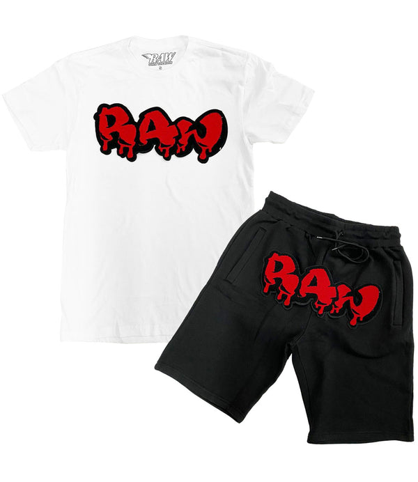 RAW Drip Red Chenille Crew Neck and Cotton Shorts Set - White Tees / Black Shorts