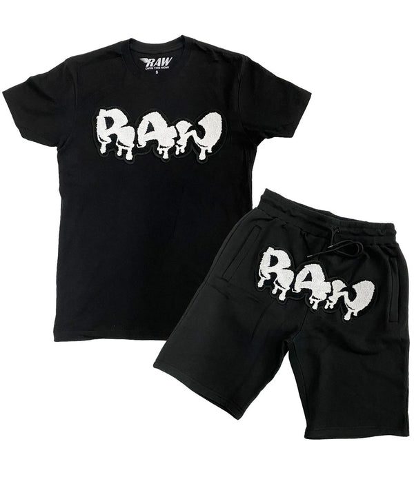 RAW Drip White Chenille Crew Neck and Cotton Shorts Set - Black Tees / Black Shorts