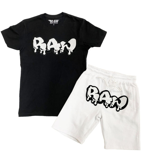 RAW Drip White Chenille Crew Neck and Cotton Shorts Set - Black Tees / White Shorts