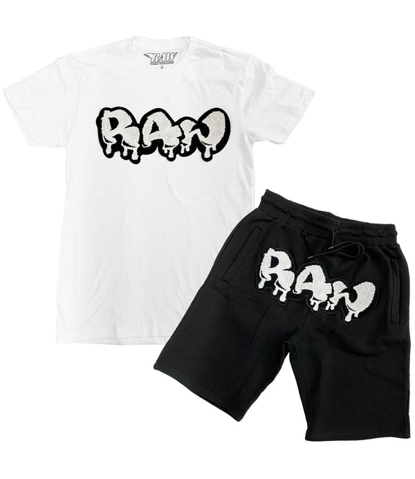 RAW Drip White Chenille Crew Neck and Cotton Shorts Set - White Tees / Black Shorts