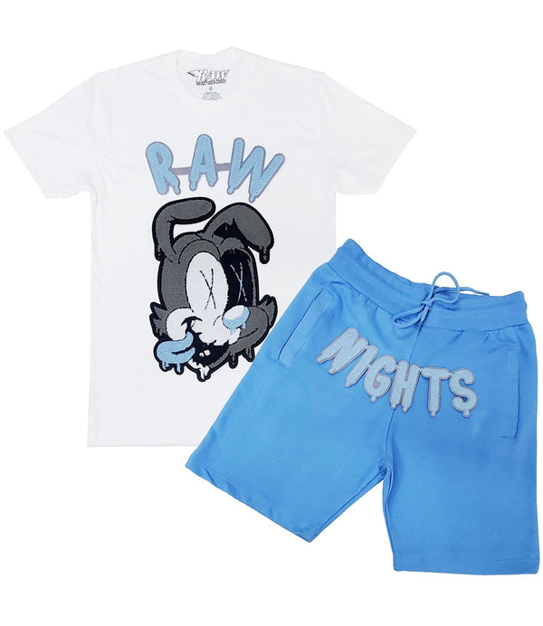 RAW Nights Baby Blue Chenille Crew Neck and Cotton Shorts Set - White Tees / Carolina Blue Shorts