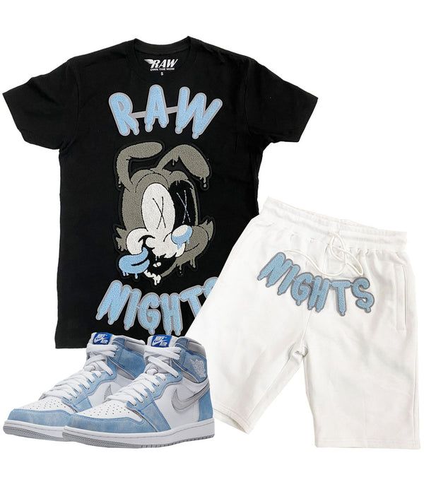 RAW Nights Baby Blue Chenille Crew Neck and Cotton Shorts Set - Black Tees / White Shorts