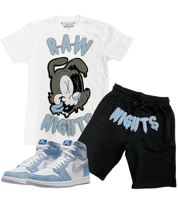 RAW Nights Baby Blue Chenille Crew Neck and Cotton Shorts Set - White Tees / Black Shorts