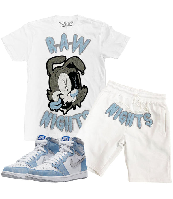 RAW Nights Baby Blue Chenille Crew Neck and Cotton Shorts Set - White Tees / White Shorts
