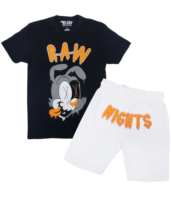 RAW Nights Orange Chenille Crew Neck and Cotton Shorts Set - Black Tees / White Shorts
