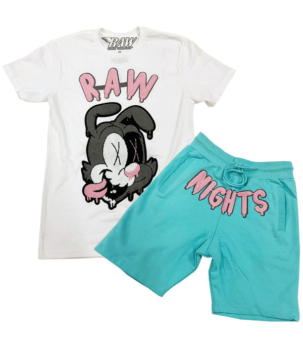 RAW Nights Pink Chenille Crew Neck and Cotton Shorts Set - White Tee / Aqua Shorts