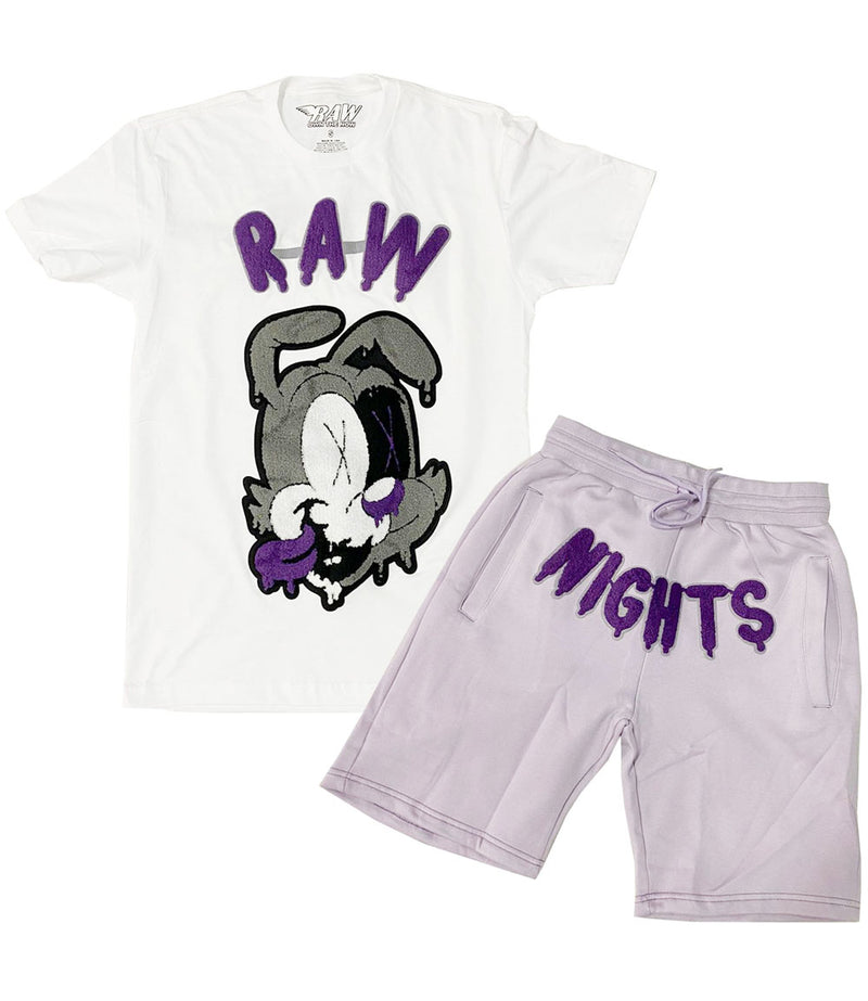RAW Nights Purple Chenille Crew Neck and Cotton Shorts Set - White Tees / Light Purple Shorts