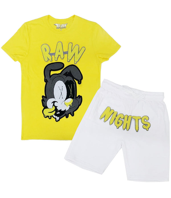 RAW Nights Yellow Chenille Crew Neck and Cotton Shorts Set - Yellow Tees / White Shorts