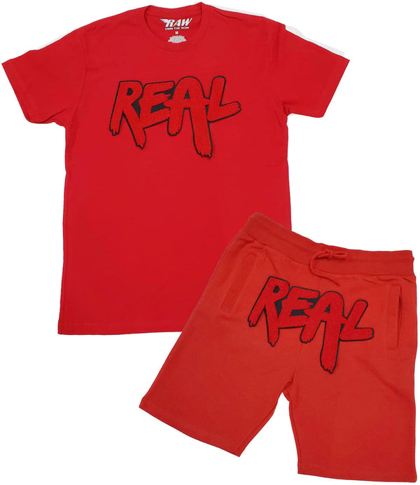 Real Red Chenille Crew Neck and Cotton Shorts Set - Red Tee / Red Shorts