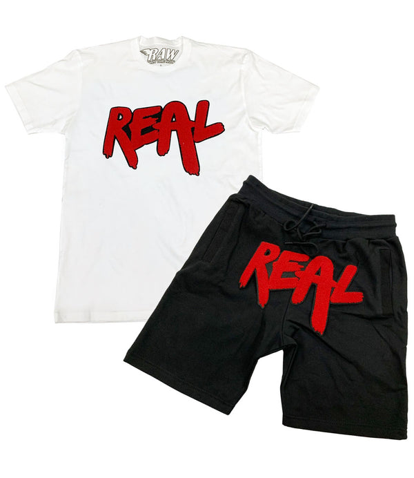 Real Red Chenille Crew Neck and Cotton Shorts Set