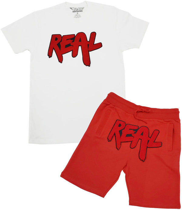 Real Red Chenille Crew Neck and Cotton Shorts Set - White Tee / Red Shorts