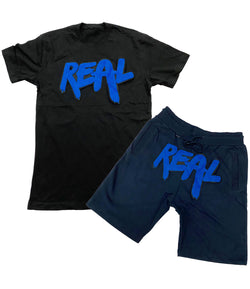 Real Royal Chenille Crew Neck and Cotton Shorts Set - Black Tee / Midnight Navy Shorts