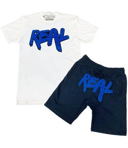 Real Royal Chenille Crew Neck and Cotton Shorts Set - White Tee / Midnight Navy Shorts