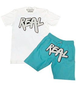 Real White Chenille Crew Neck and Cotton Shorts Set - White Tee / Aqua Shorts