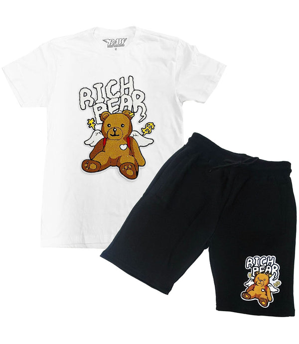 Rich Bear Cartoon Chenille Crew Neck and Cotton Shorts Set - White Tees / Black Shorts