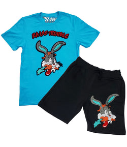 Raise Trouble Bunny Chenille Crew Neck and Cotton Shorts Set - Aqua Tee / Black Shorts