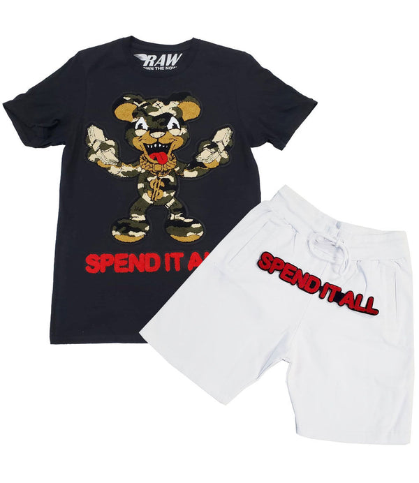 Spend It All Chenille Crew Neck and Cotton Shorts Set - Black Tees / White Shorts