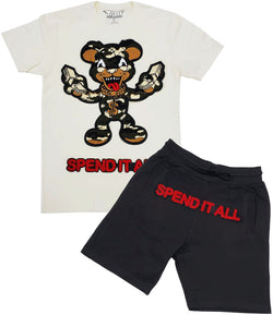 Spend It All Chenille Crew Neck and Cotton Shorts Set - Cream Tees / Black Shorts
