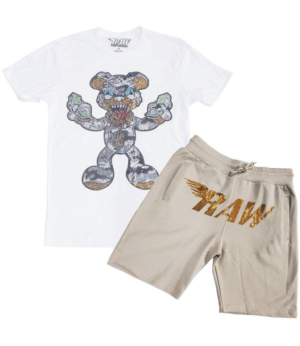 Spend It All Bling Crew Neck and RAW Wing Gold Bling Cotton Shorts Set - White Tees / Stone Shorts
