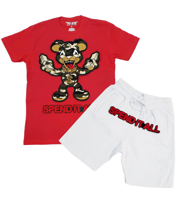 Spend It All Chenille Crew Neck and Cotton Shorts Set - Red Tees / White Shorts