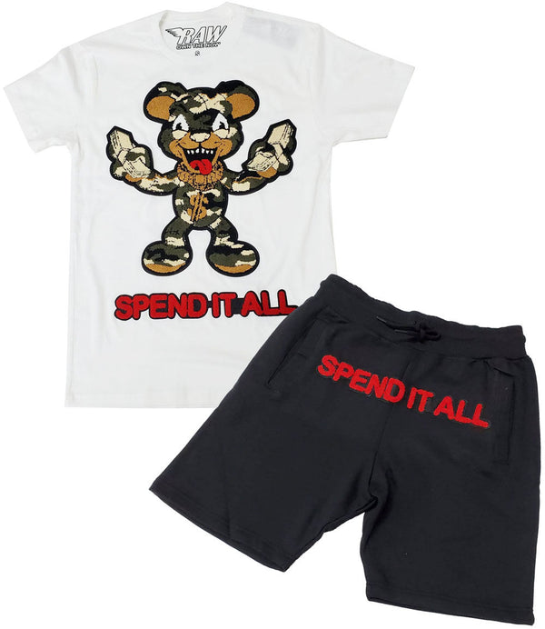 Spend It All Chenille Crew Neck and Cotton Shorts Set - White Tee / Black Shorts