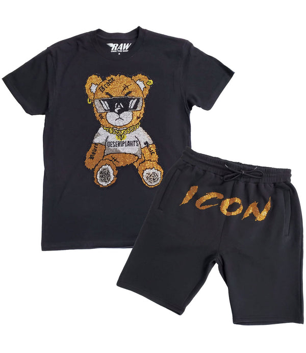 Teddy Bling Crew Neck and Cursive Icon Gold Bling Cotton Shorts Set - Black Tees / Black Shorts