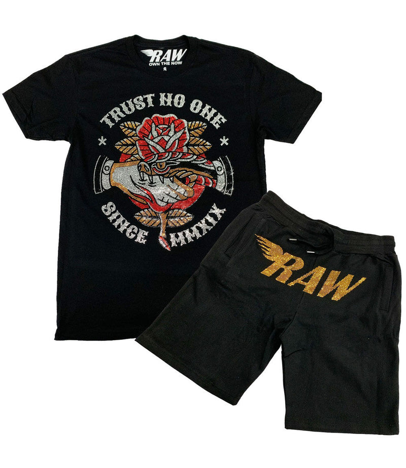 Trust No One Bling Crew Neck and RAW Gold Bling Cotton Shorts Set - Black Tee / Black Shorts