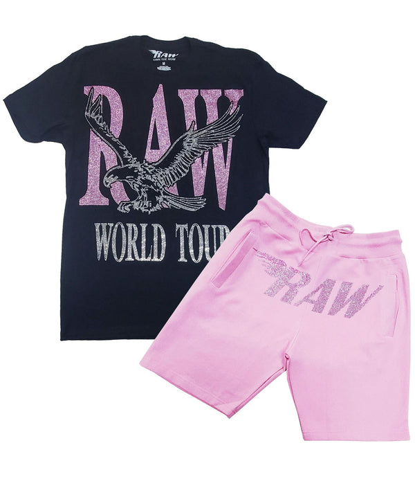 RAW World Tour Pink Bling Crew Neck and RAW Wing Pink Bling Cotton Shorts Set - Black Tees / Pink Shorts