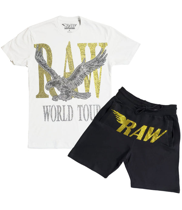 RAW World Tour Yellow Bling Crew Neck and RAW Yellow Bling Cotton Shorts Set - White Tees / Black Shorts
