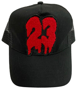 23 Red Chenille Hat - Black