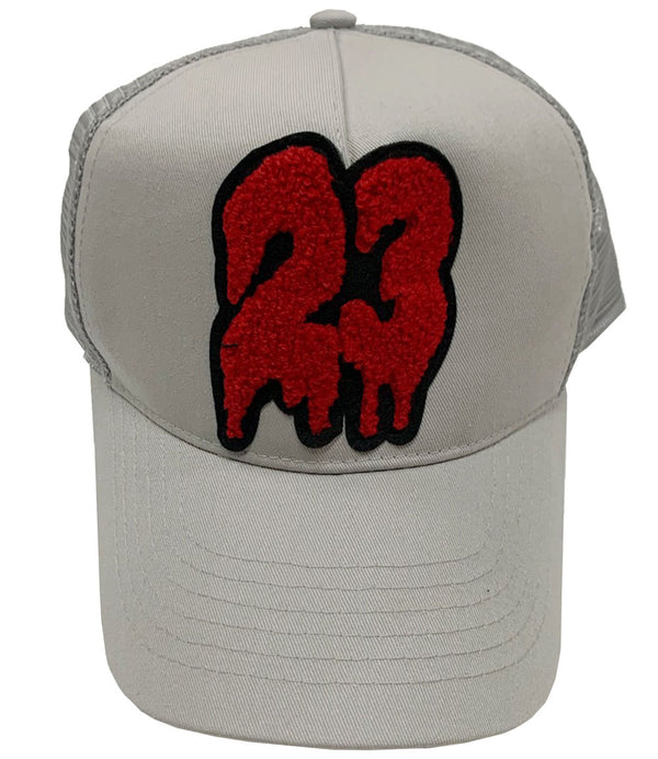 23 Red Chenille Hat - Light Grey
