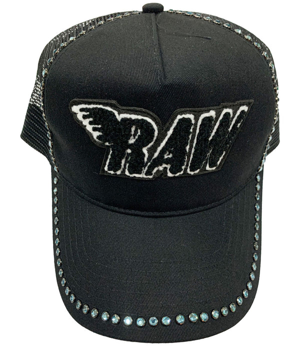 RAW Black Chenille Aqua Bling Hat