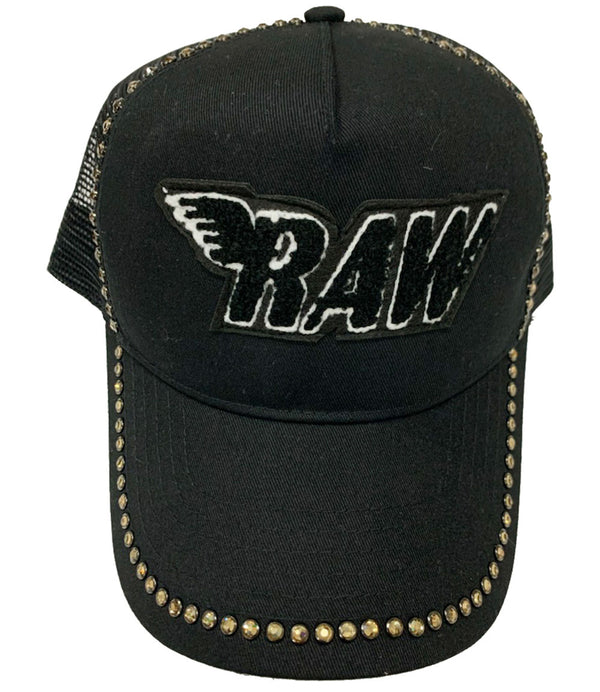 RAW Black Chenille Gold Bling Hat