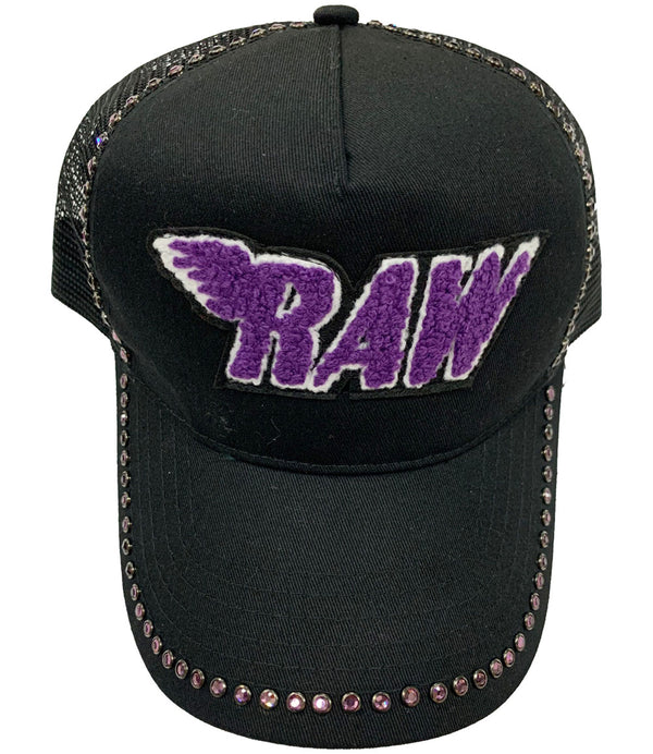 RAW Purple Chenille Purple Bling Hat