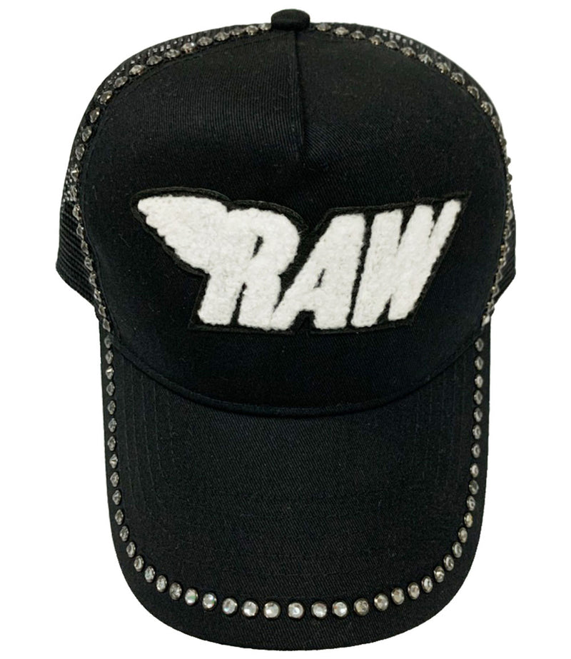 RAW White Chenille Clear Bling Hat