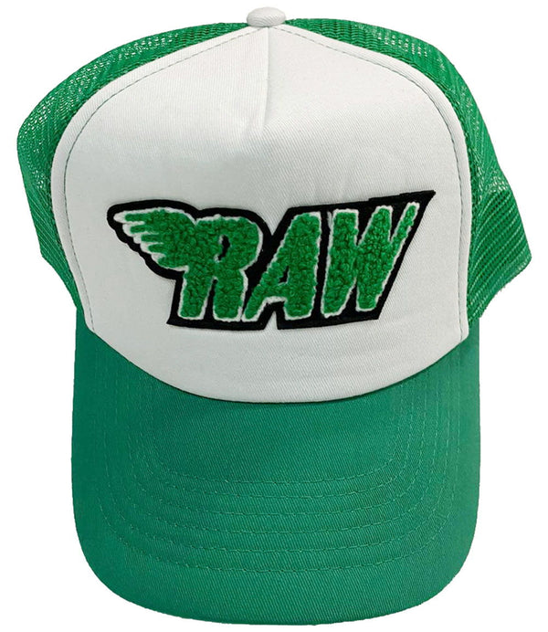 RAW Green Chenille Taw Hat - Green/White