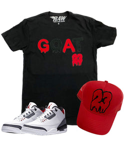GOAT Chenille Crew Neck and 23 Chenille Hat Set - Black Tee / Red Hat