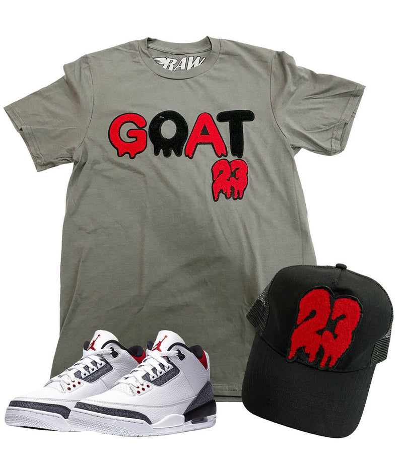 GOAT Chenille Crew Neck and 23 Chenille Hat Set - Heavy Metal Tee / Black Hat