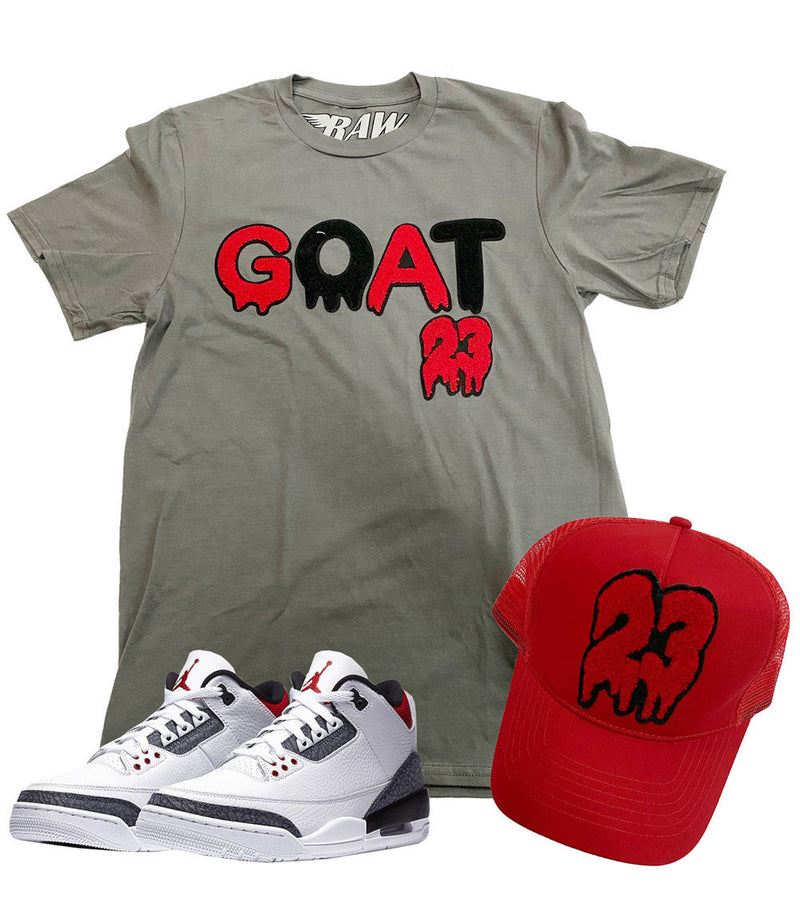 GOAT Chenille Crew Neck and 23 Chenille Hat Set - Heavy Metal Tee / Red Hat