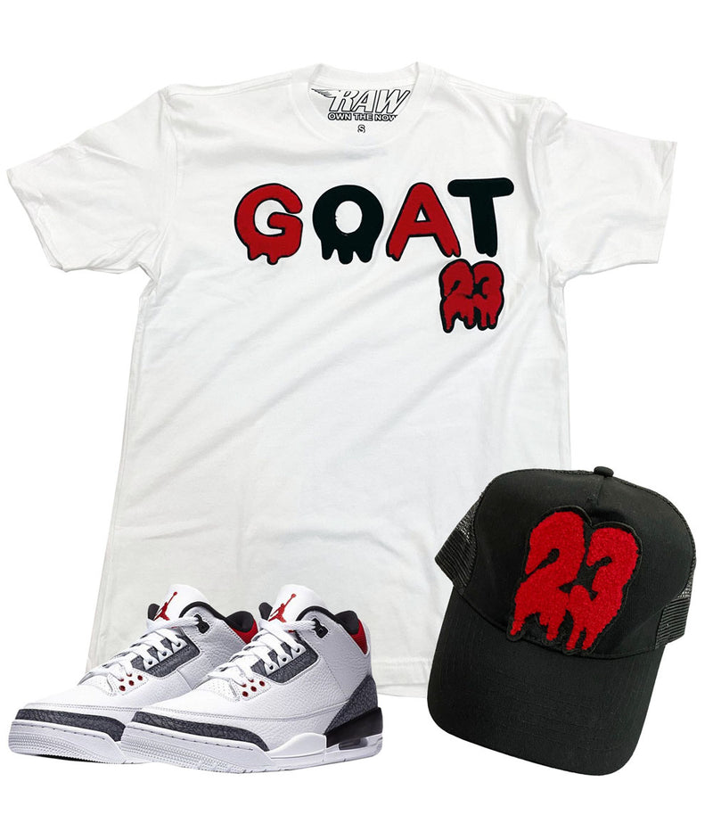 GOAT Chenille Crew Neck and 23 Chenille Hat Set - White Tee / Black Hat