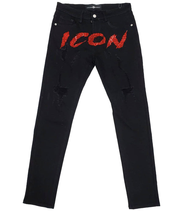 Cursive ICON Red Bling Denim Jeans - Black