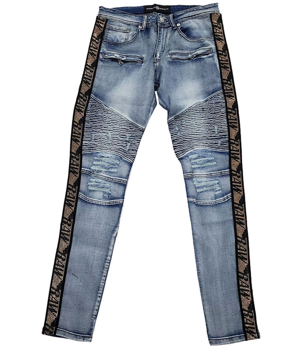 RAW Tape Gold Bling Denim Jeans - Blue