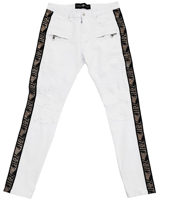 RAW Tape Gold Bling Denim Jeans - White
