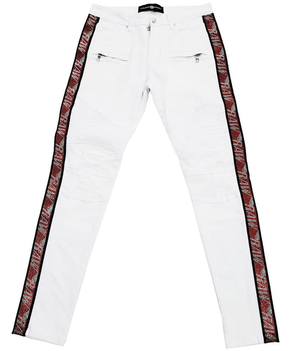 RAW Tape Red Bling Denim Jeans - White